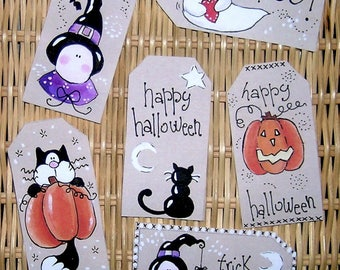 halloween ghost witch pumpkin cat illustrated stickers set