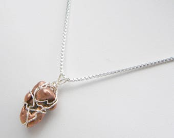 """Wire Wrapped Copper """"Float"""" Nugget Necklace"""