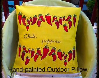 "Hand-painted ""Chili Peppers"" Outdoor Pillow Cover"