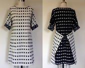 Ingrid tie-back dress- b+w ikat- XS