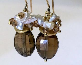 Brown Earrings Gemstone Tourmaline Pearl Cluster Earrings Gold Filled Earring Honey Whiskey Quartz Petite Earring DoolittleJewelry