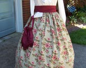 Civil War Long SKIRT one size fits all  with Green with Large Burgundy, cream,and coral Roses cotton Handmade vintage style fabric