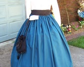 Dicken's  Victorian Civil War Ladies Long drawstring Skirt Teal or Black Sash one size fit all