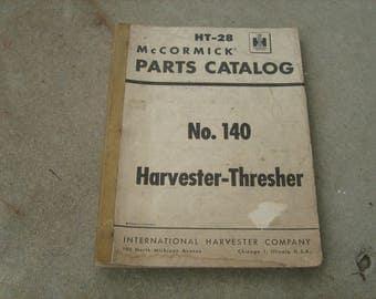 1955 McCormick no,140 harvester-thresher parts catalog international harvester company Chicago, Illinois