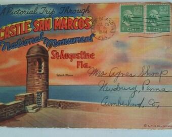 Vintage 40s Fold Out Postcard Booklet Castle San Marcos St. Augustine Florida Used
