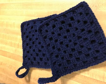 2 navy double thick pot holders-navy
