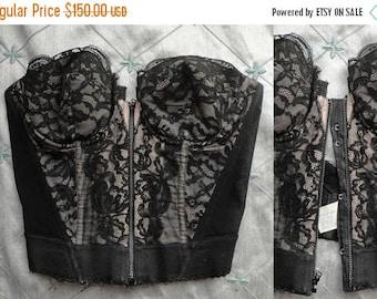 ON SALE Vintage Bustier //  Vintage 50s 60s Black Lace Bustier by Hollywood Vassarette Size 34B zipper front strapless bra corset burlesque