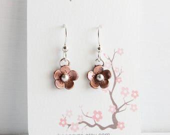Cherry Blossom Dangle Earrings, Sakura earrings, Cherry blossom Jewelry, Handmade by Hapa Girls, gifts for her, Gifts under 40, Earrings