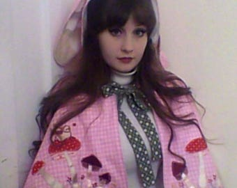 """pink checked,appliqued """" fairy sheep """", & toadstools, bunny ear cape"""
