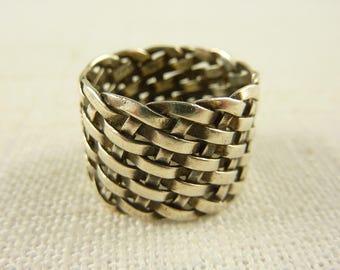 Vintage Size 7 Sterling Basket Weave Thick Banded Ring
