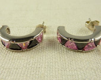 Vintage Sterling and Glass Semicircle  Earrings