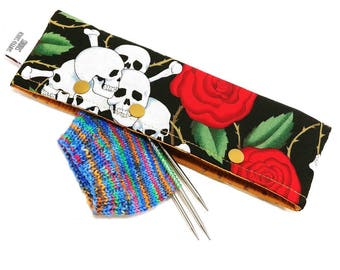 Stitch Holder Point Protector Zipper Pouch Needle Nook - DPN and Circular Project Holder - Knitting is Metal