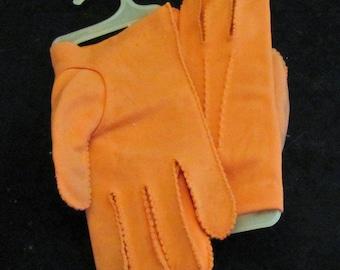 Wrist Gloves in Orange Vintage 50's