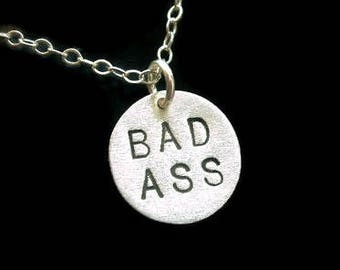 Girl Boss, BAD ASS, Bad Bitch, Bad Girl, Baddie, Like a Boss, Badass, Sterling Silver Disc Necklace,Metal Pendant,Round Necklace, Metalwork