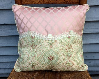 Decorative Pillow with Green and pink tapestry fabric, vintage lace and vintage button, So PaRiS rOMaNtiC!