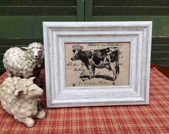 Cow in Crown, French Country Decor, Farmhouse Decor, Linen Print, Distressed Shabby Chic Frame, French Script Printed on Linen