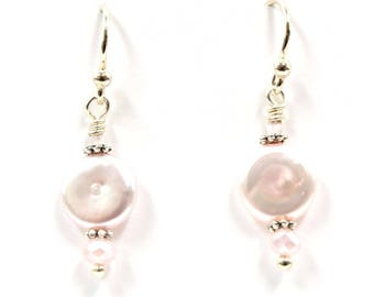 """Dainty Pink Freshwater Pearl """"Coin"""" Silver Finish Earrings"""