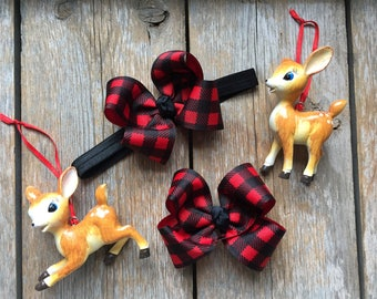 Red and Black Buffalo Plaid Boutique Hair Bow