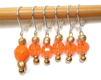 Removable Orange Stitch Markers Crochet Row Marker Locking Markers Knitting Supplies DIY Crafts Gift for Knitting, Gift for Crochet