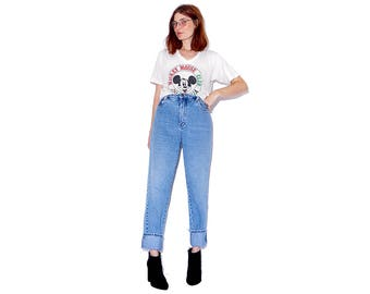 broken in to perfection vintage BILL BLASS JEANS / flattering tapered jeans high waisted jeans vintage jeans mom jeans distressed jeans