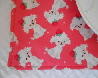 Single Fabric Placemat, White Puppy, Kids Lunchbox Placemat, Dog Placemat, Girls Placemat, School Placemat, Cloth Placemat
