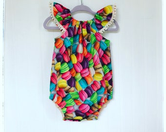Baby romper Macaroon colorful red yellow orange pink  blue green girls romper playsuit French macaroon romper Toddler romper Limited edition