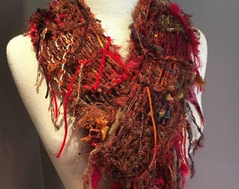 Red Rust artistic fiber knit scarf, 'Dirty Red', Fringe Scarf, 'Dumpster Diva', Hand knit one of a kind, Fall scarves, funky scarf, artwear