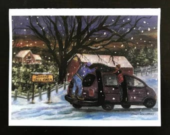 FREE SHIPPING, Tree Harvest, Christmas Cards, Sunset,  Christmas Tree, Snow, Winter, Watercolor  art print by Janet Dosenberry
