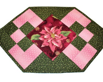 Pink and Green Christmas Placemats,  Four Poinsettia Quilted Place mats, Quiltsy Handmade Holiday Patchwork