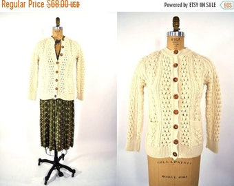 FINAL SALE 1970s wool cardigan | fisherman cream Irish wool cardigan | vintage 70s sweater | S/M