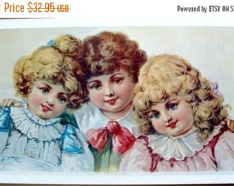 ON SALE Antique 1961 Victorian Three Beauties Print