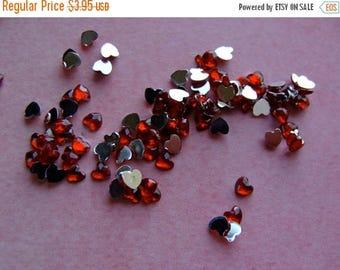 ON SALE 50 Diamond Cut Red Hearts Rhinestones Scrumptious  Teeny Tiny Gems