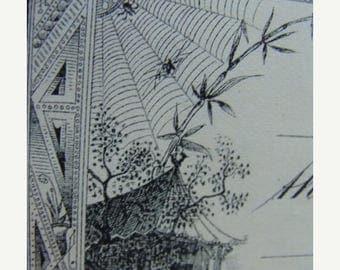 ONSALE Antique Engraving Gorgeous Spider Web Ephemera 135 Year Old Divine Unused Check Halloween Ephemera