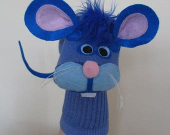 SALE Handmade Blue Mouse Sock Puppet