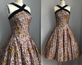 Vintage 1950s Lace over Cabbage Roses Full Circle Skirt Party Dress Size Small
