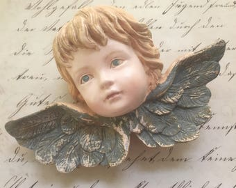 Plaster Molded Angel or Cherub Wall Hanging