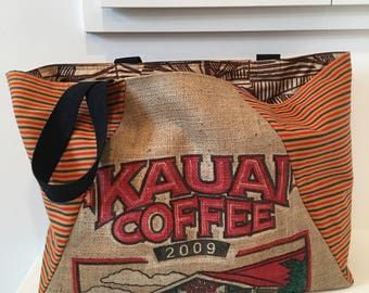 Kauai Coffee Company Tote/ Beach Bag/ Market Tote/ Coffee Sack/ Burlap