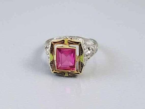 Antique early Art Deco 1920s 14k white and yellow gold filigree syn pink sapphire enamel ring signed WWW White Wile Warner / size 7.5