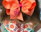 6 Large Boutique Hair Bows You Pick Colors 1 Letter Monogrammed