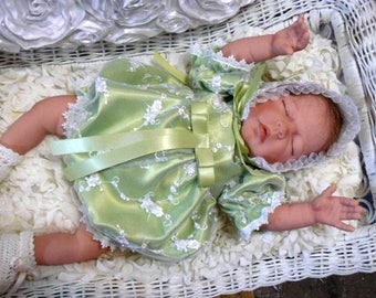 ROMPER  Apple Green Satin Beaded Embroidered for REBORN or NEWBORN Baby