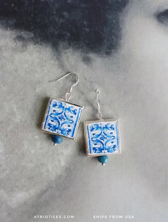 SILVER Earrings Tile Portugal Azulejo Antique Blue COIMBRA, 1593 and Viseu Se -  (see photos)  Colégio de Santo Agostinho 563