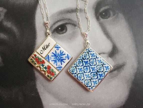 Silver Necklace Mãe Portugal Tile Azulejo Portuguese Antique Porto Blue Mother - Framed - Gift Box - Reversible SHIPS from USA 1639