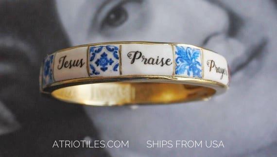 Bracelet Christian Bangle - Jesus Praise Prayer Hope Love Faith Prayer Peace- Portugal Antique Azulejo Tile Replica - Ships from USA