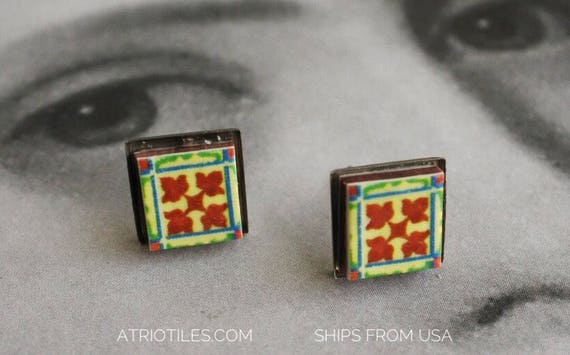 STUD Post Earrings Tile Portugal Portuguese Antique Azulejo STAINLESs Steel- BRAGA! (see actual Facade photo) Gift Boxed Ships from USA 672