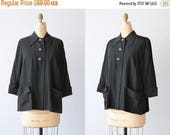 SALE Vintage 1940s Black Short Swing Evening Jacket Coat / Swing Jacket Coat