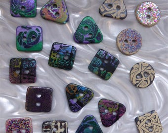 18 unusual funky handmade buttons (set18_18)