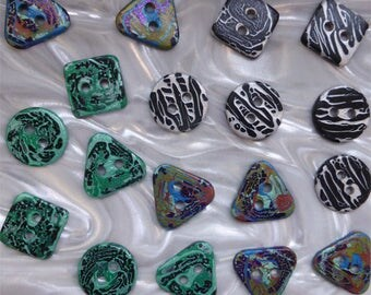 18 unusual funky handmade buttons (set18_19)
