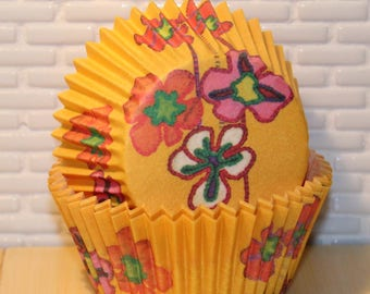 Yellow Floral Heavy Duty Cupcake Liners (Qty 12) Yellow Floral Cupcake Liners, Yellow Floral Baking Cups