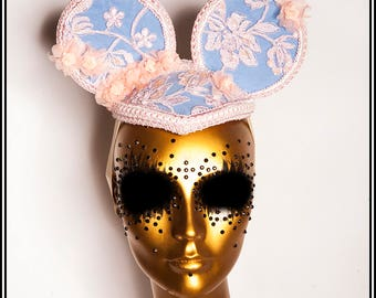 Baby Cakes.... Pink and Pastel Blue Lace Mouse Ears Fascinator Headdress