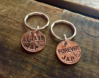 Custom Stamped Anniversary Date Penny Keychain